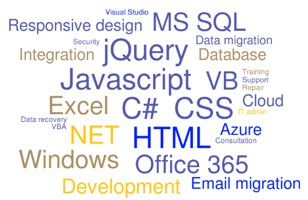 Skills: HTML, CSS, JavaScript, jQuery, C#, MS SQL, VB, Responsive design, .NET, Windows, Excel, Office, VBA, Visual Studio, Office 365, Email migration, Azure, Integration, Data migration, Consultation, Training, Support, IT admin, Security, Data recovery, Repair